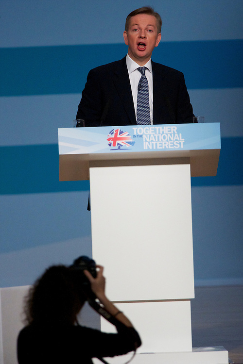 Secretary of State for Education Michael Gove address delegates on the third, and penultimate, day of the Conservatives Party Conference at the ICC, Birmingham, England on October 5, 2010.  This is the first conference since the government coalition with the Liberal Democrats.