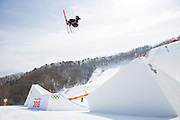 Team New Zealand during the ski slopestyle practice at the Pyeongchang 2018 Winter Olympics on February 15th 2018, at the Phoenix Snow Park in Pyeongchang-gun, South Korea.