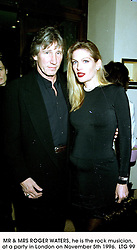 MR & MRS ROGER WATERS, he is the rock musician, at a party in London on November 5th 1996.            LTG 99