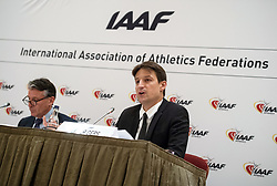 IAAF President Lord Sebastian Coe (left) and Chief Executive Olivier Gers during the press conference at the London Marriott Hotel Canary Wharf, London.