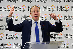 © Licensed to London News Pictures. 18/12/2019. London, UK. Secretary of State for Health and Social Care MATT HANCOCK speaks at Policy Exchange's event about Tories plans on the National Health Service (NHS) following the 2019 General Election, in which the Conservative Party won a majority. Photo credit: Dinendra Haria/LNP