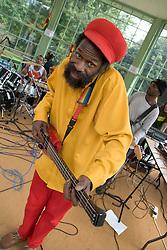 Reggae guitarist performing at music festival in Nottingham Arboretum; 2005
