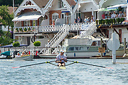 """Henley on Thames, United Kingdom, 3rd July 2018, Sunday,  """"Henley Royal Regatta"""", The Diamond Challenge Sculls, Finalist,Kjetil BORCH NOR M1X, after crossing the Finish Line   View, Henley Reach, River Thames, Thames Valley, England, UK."""