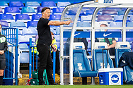 Birmingham City manager Scott Booth gestures during the FA Women's Super League match between Birmingham City Women and Brighton and Hove Albion Women at St Andrews, Birmingham United Kingdom on 12 September 2021.