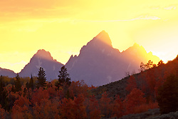 """Light beams shoot up from a sun setting behind the Grand Tetons as red aspens continue to glow in the evening light.<br /> <br /> For production prints or stock photos click the Purchase Print/License Photo Button in upper Right; for Fine Art """"Custom Prints"""" contact Daryl - 208-709-3250 or dh@greater-yellowstone.com"""
