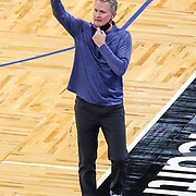 ORLANDO, FL - FEBRUARY 19: Head Coach Steve Kerr of the Golden State Warriors gives instructions against Orlando Magic during the first half at Amway Center on February 19, 2021 in Orlando, Florida. NOTE TO USER: User expressly acknowledges and agrees that, by downloading and or using this photograph, User is consenting to the terms and conditions of the Getty Images License Agreement. (Photo by Alex Menendez/Getty Images)*** Local Caption *** Steve Kerr