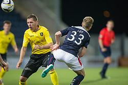 Livingston Burton O'Brien and Falkirk's Rory Loy.<br /> Falkirk 0 v 0  Livingston, Scottish Championship game played 21/10/2014 at The Falkirk Stadium.