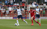 Preston North End's Alan Browne holds off the challenge from Accrington Stanley's Joe Pritchard<br /> <br /> Photographer Stephen White/CameraSport<br /> <br /> Football Pre-Season Friendly - Accrington Stanley v Preston North End - Saturday 24th July 2021 - Crown Ground - Accrington<br /> <br /> World Copyright © 2021 CameraSport. All rights reserved. 43 Linden Ave. Countesthorpe. Leicester. England. LE8 5PG - Tel: +44 (0) 116 277 4147 - admin@camerasport.com - www.camerasport.com