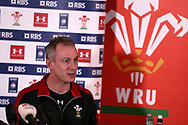 Robert Howley , the Wales team manager speaks to the press during the Wales rugby team announcement press conference at the Vale Resort, Hensol near Cardiff, South Wales on Thursday 16th March 2017. The team are preparing for their final RBS Six nations match away to France this weekend. <br /> pic by  Andrew Orchard, Andrew Orchard sports photography.