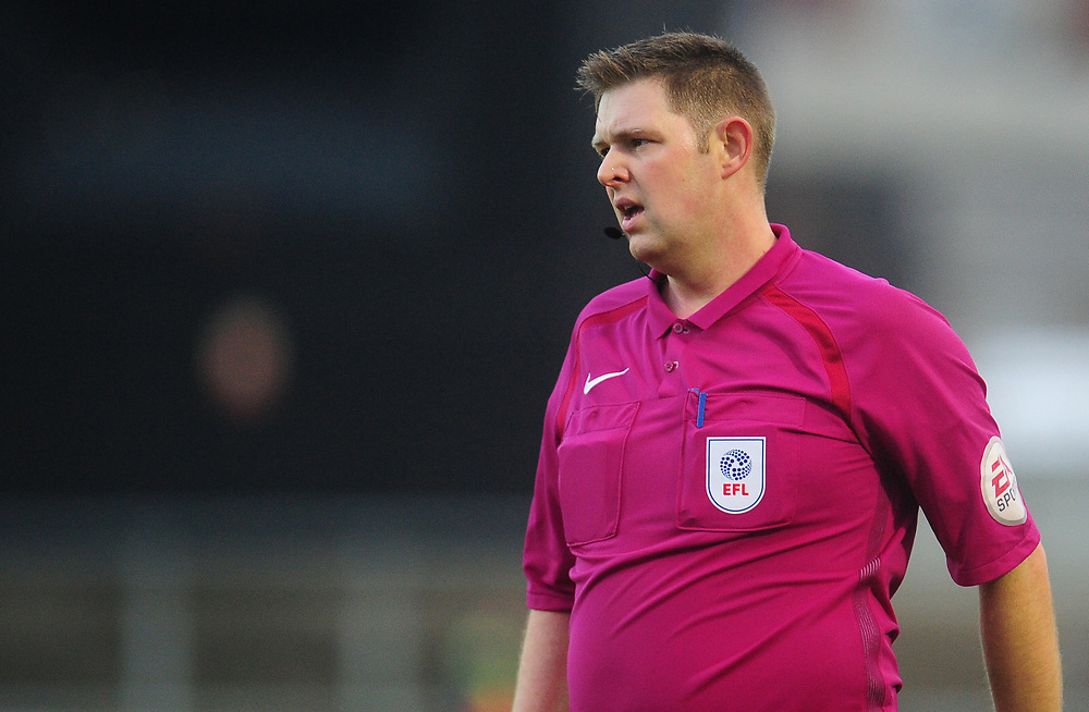Referee Brett Huxtable<br /> <br /> Photographer Kevin Barnes/CameraSport<br /> <br /> The EFL Sky Bet League Two - Newport County v Lincoln City - Saturday 23rd December 2017 - Rodney Parade - Newport<br /> <br /> World Copyright © 2017 CameraSport. All rights reserved. 43 Linden Ave. Countesthorpe. Leicester. England. LE8 5PG - Tel: +44 (0) 116 277 4147 - admin@camerasport.com - www.camerasport.com