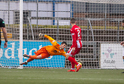 East Fife's keeper Brett Long can't stop Forfar Athletic's Dylan Easton scoring their second goal. half time : Forfar Athletic 3 v 0 East Fife, Scottish Football League Division One game played 2/3/2019 at Forfar Athletic's home ground, Station Park, Forfar.