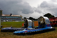 Towcester, England,  28-29th August 2010: Hovercraft sit in the paddock during the World Hovercraft Championships at Towcester Race Course, Towcester, Nothamptonshire, UK (photo by Lee Irvine/SLIK images)