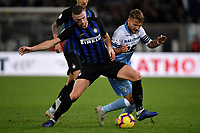 Milan Skriniar of Internazionale and Ciro Immobile of Lazio compete for the ball during the Serie A 2018/2019 football match between SS Lazio and FC Internazionale at stadio Olimpico, Roma, October, 29, 2018 <br />  Foto Andrea Staccioli / Insidefoto