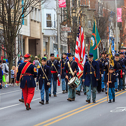 York, PA / USA - March 12, 2016: A group of Civil War reenactors march in the annual Saint Patrick's Day Parade.