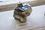 Complex basal sedimentary rock sample from Fuerteventura, geology display Casa de los Volcanes volcanic study centre, Lanzarote, Canary island, Spain