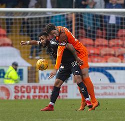 Falkirk's Alex Jakubiak and Dundee United's Biel Mohsni. Dundee United 1 v 0 Falkirk, Scottish Championship played 14/4/2018 at Dundee United's stadium Tannadice Park.