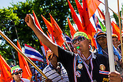12 MAY 2014 - BANGKOK, THAILAND: Anti-government protestors cheer for Suthep Thaugsuban at the Thai Parliament. Several thousand protestors with the People's Democratic Reform Committee (PDRC) blocked access to the Thai Parliament building in Bangkok as a part of their continuing anti-government protests. The Parliament is not currently in session and was dissolved by former Prime Minister Yingluck Shinawatra but the Senate is in session. The protestors are demanding that the Senate dissolve the current Pheu Thai caretaker government and appoint a new Prime Minister and cabinet. Members of the Senate leadership met with Suthep Thaugsuban Monday to discuss the impasse.   PHOTO BY JACK KURTZ