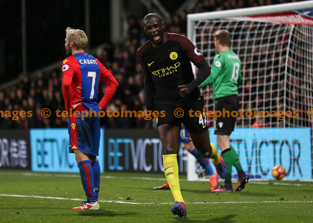 Yaya Toure celebrates scoring the winning goal during the Premier League match between Crystal Palace and Manchester City at Selhurst Park in London. Novemeber 19, 2016.<br /> Jack Beard / Telephoto Images<br /> +44 7967 642437