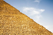 Yellow and blue contrast.  Pyramid, Giza, Egypt.
