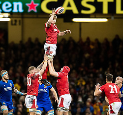 Aaron Wainwright of Wales claims the lineout<br /> <br /> Photographer Simon King/Replay Images<br /> <br /> Six Nations Round 1 - Wales v Italy - Saturday 1st February 2020 - Principality Stadium - Cardiff<br /> <br /> World Copyright © Replay Images . All rights reserved. info@replayimages.co.uk - http://replayimages.co.uk