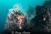 steam explosion blows the top off a ball of hot lava from Kilauea Volcano erupting underwater as pillow lava, offshore from Hawaii Volcanoes National Park, Puna, Hawaii ( the Big Island ), Hawaiian Islands, U.S.A. ( Central Pacific Ocean )