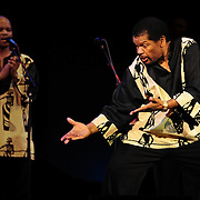 Ladysmith Black Mambazo member Russel Methembu performing at The Music Hall, Portsmouth, NH
