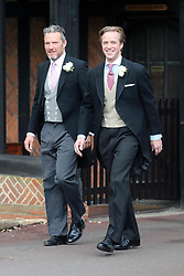 (right) Groom Thomas Kingston arrives at St George's Chapel in Windsor Castle, ahead of his wedding to Lady Gabriella Windsor.