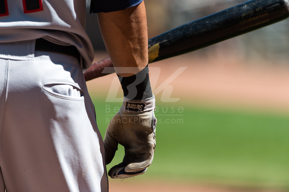 A close up view of Cleveland Indians DH Carlos Santana's batting glove during a game against the Minnesota Twins at Target Field in Minneapolis, Minnesota on July 29, 2012.  The Twins defeated the Indians 5 to 1.  © 2012 Ben Krause