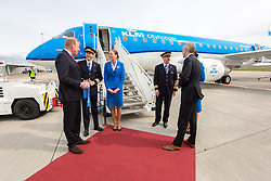 Inverness Airport welcomed KLM's Inaugural flight from Amsterdam. To celebrate the new route, the first flight from Schiphol, Amsterdam was greeted by a water cannon salute upon arrival.  On board were Barry ter Voert, Senior Vice President, Air France KLM European Markets and Wilco Swejen, Director for Aviation Marketing, Schipol Airport.  Provost Helen Carmichael, The Highland Council, Inglis Lyon, Managing Director of Highlands and Islands Aiports and Drew Hendry MP (Inverness, Nairn, Badenoch and Strathspey) met the delegation, officially welcoming the group to the Highlands. <br /> <br /> Pictured: flight crew<br /> <br /> Malcolm McCurrach | EEm | Tue, 17, May, 2016