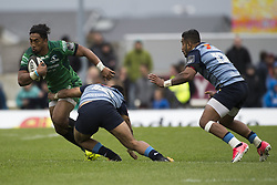September 23, 2017 - Galway, Ireland - Bundee Aki of Connacht tackled by Willis Halaholo of Cardiff during the Guinness PRO14 Conference A match between Connacht Rugby and Cardiff Blues at the Sportsground in Galway, Ireland on September 23, 2017  (Credit Image: © Andrew Surma/NurPhoto via ZUMA Press)