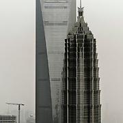 Left 'World Financial Center' and right 'Jin Mao Tower', View from the Space Module Observation desk at 350 m (1148 ft) of 'Oriental Pearl TV Tower', Pudong, Shanghai, China, Asia