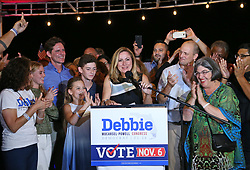 Democratic candidate for Florida's 26th Congressional District Debbie Mucarsel-Powell gives her acceptance speech during her election night party at Black Point Ocean Grill in Cutler Bay, FLA., on Tuesday, November 6, 2018. Photo by David Santiago/Miami Herald/TNS/ABACAPRESS.COM