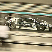 A Lamborghini tears down the home straight at Yas Marina circuit in an FIA GT1 race.