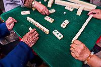 Chine, Province du Yunnan, Kunming, joueurs de Mah Jong et buveur de thé dans le parc du lac d'émeraude // China, Yunnan, Kunming, Mah Jong players and tea drinker in the green lake park