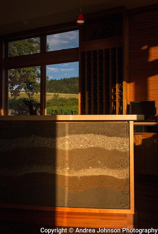 Alexana tasting room with soil sample tasting bar, Dundee Hills, Willamette Valley, Oregon