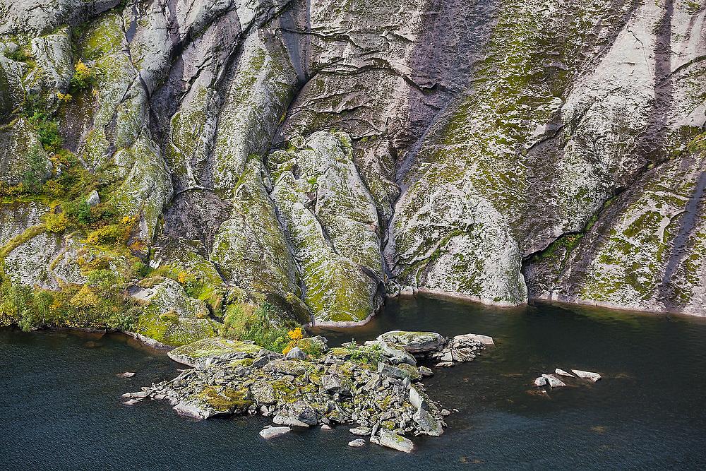 A lone tree grows on small peninsula formed by ancient rockfall in Tridalsvatnet Lake, Moskenesoya, Lofoten Islands, Norway.