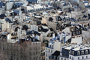 Views of the city of Paris taken from the towers of Notre Dame - rooftops in the Latin Quarter on the Left Bank.