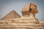 The Sphinx of Giza, the Great Pyramid of Khufu - Cheops) in the background, Giza Plateau, Cairo Egypt.<br /> The Sphinx is carved almost entirely from one huge piece of limestone