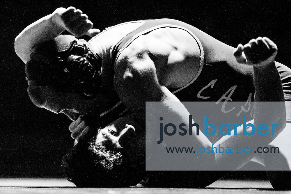 Aliso Niguel's John DeCorte, Capistrano Valley's Noah Holmes during Sea View league wrestling at Capistrano Valley High School on Thursday, January 14, 2016 in Mission Viejo, California. Capistrano Valley won 43-22. (Photo/Josh Barber)