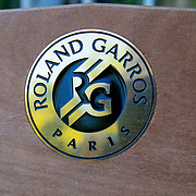 PARIS, FRANCE June 13.   A Roland Garros emblem on a bench in the grounds of Roland Garros at the 2021 French Open Tennis Tournament at Roland Garros on June 13th 2021 in Paris, France. (Photo by Tim Clayton/Corbis via Getty Images)