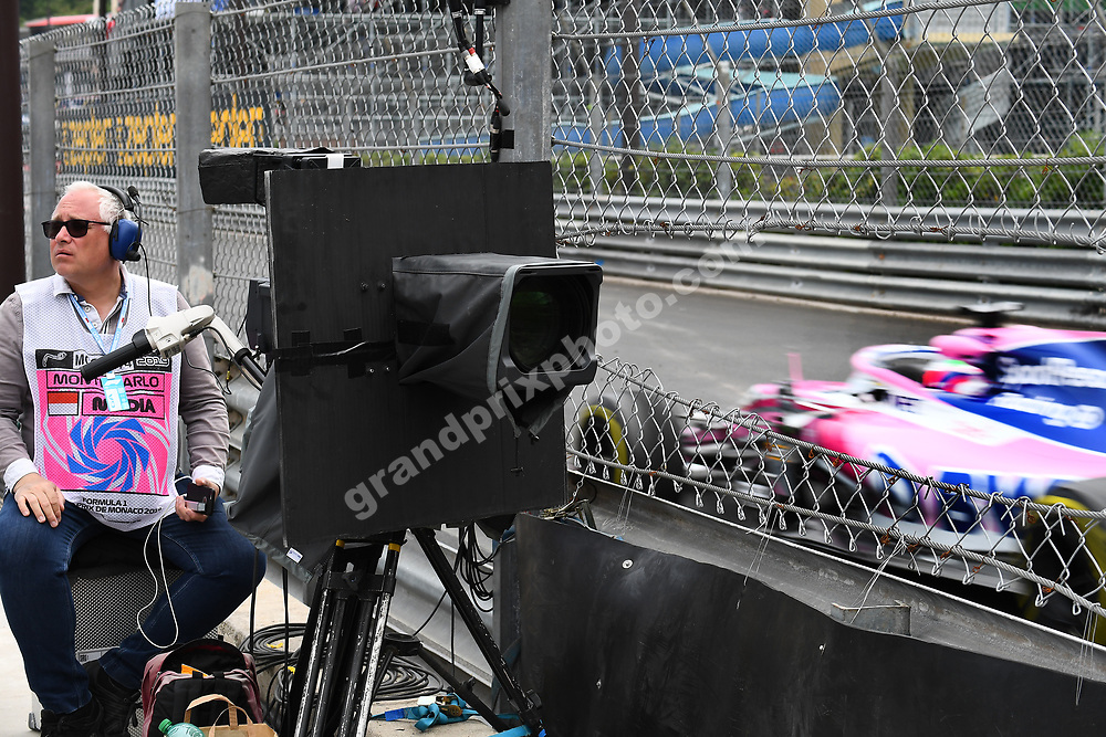 Sergio Perez (Racing Point-Meercedes) and brave TV camara man during practice before the 2019 Monaco Grand Prix. Photo: Grand Prix Photo