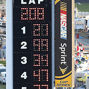 The scoreboard shows Trevor Bayne driving the Motorcraft/Quick Lane Ford as the winner after the Daytona 500 Sprint Cup race at Daytona International Speedway on February 20, 2011 in Daytona Beach, Florida. (AP Photo/Alex Menendez)
