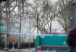 © Licensed to London News Pictures. 14/12/2019. London, UK. Smoke is seen rising from the Thames Tideway sewer works building site on Chelsea Embankment after a controlled explosion was carried out on a WW2 unexploded bomb. Photo credit: Peter Macdiarmid/LNP