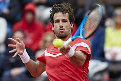 April 7, 2018 - Valencia, Valencia, Spain - Feliciano Lopez of Spain in action in his doubles match with Marc Lopez of Spain against Tim Putz and Jan-Lennard Struff of Germany during day two of the Davis Cup World Group Quarter Finals match between Spain and Germany at Plaza de Toros de Valencia on April 7, 2018 in Valencia, Spain  (Credit Image: © David Aliaga/NurPhoto via ZUMA Press)