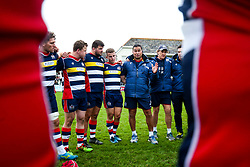 Bristol Rugby Head Coach Pat Lam speaks in the huddle after a bonus point win - Rogan/JMP - 28/10/2017 - RUGBY UNION - Stade Santander International - St Peter, Jersey - Jersey Reds v Bristol Rugby - Greene King IPA Championship.