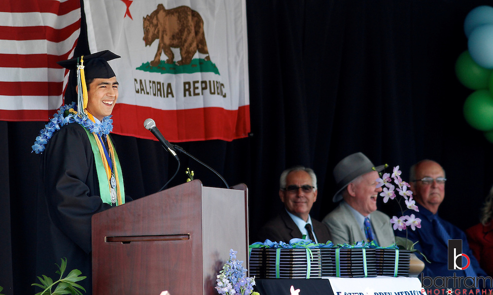 Senior Antonio Hernandez speaks at Dozier-Libbey Medical High School graduation on Friday, June 8, 2012.  (Photo by Kevin Bartram)