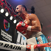 ORLANDO, FL - OCTOBER 04: Christopher Diaz of Puerto Rico  celebrates his victory over Francisco Camacho of Mexico after his professional featherweight boxing match at the Bahía Shriners Auditorium & Events Center on October 4, 2014 in Orlando, Florida. (Photo by Alex Menendez/Getty Images) *** Local Caption *** Christopher Diaz; Francisco Camacho