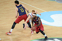 Unicaja's Alberto Diaz and FCB Lassa's Tyrese Rice and Victor Faverani during Quarter Finals match of 2017 King's Cup at Fernando Buesa Arena in Vitoria, Spain. February 17, 2017. (ALTERPHOTOS/BorjaB.Hojas)