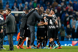 Newcastle United players celebrate after a 0-2 win - Photo mandatory by-line: Rogan Thomson/JMP - 07966 386802 - 29/10/2014 - SPORT - FOOTBALL - Manchester, England - Etihad Stadium - Manchester City v Newcastle United - Capital One Cup Fourth Round.