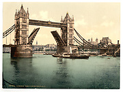 Stunning Old photochrome prints turn back the clock in London <br /> <br /> colourised postcards from the Victorian era,  postcards were made using photochrom - a method of producing colourised photos from negatives<br /> <br /> Photo shows: London Tower Bridge, England, between 1890 and 1900<br /> ©Library of Congress/Exclusivepix Media